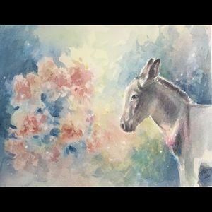 Original painting donkey burro watercolor artwork